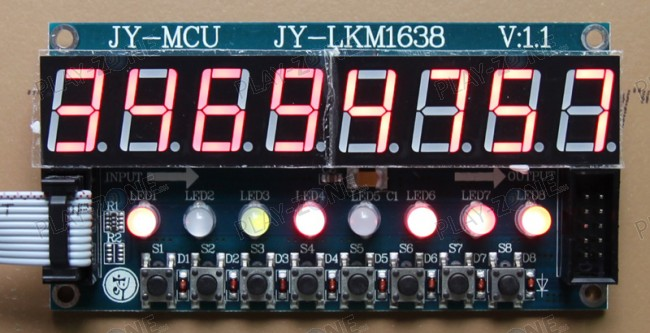 TM1638 8-Char Segment-Display with LEDs / Buttons - Red-Segment